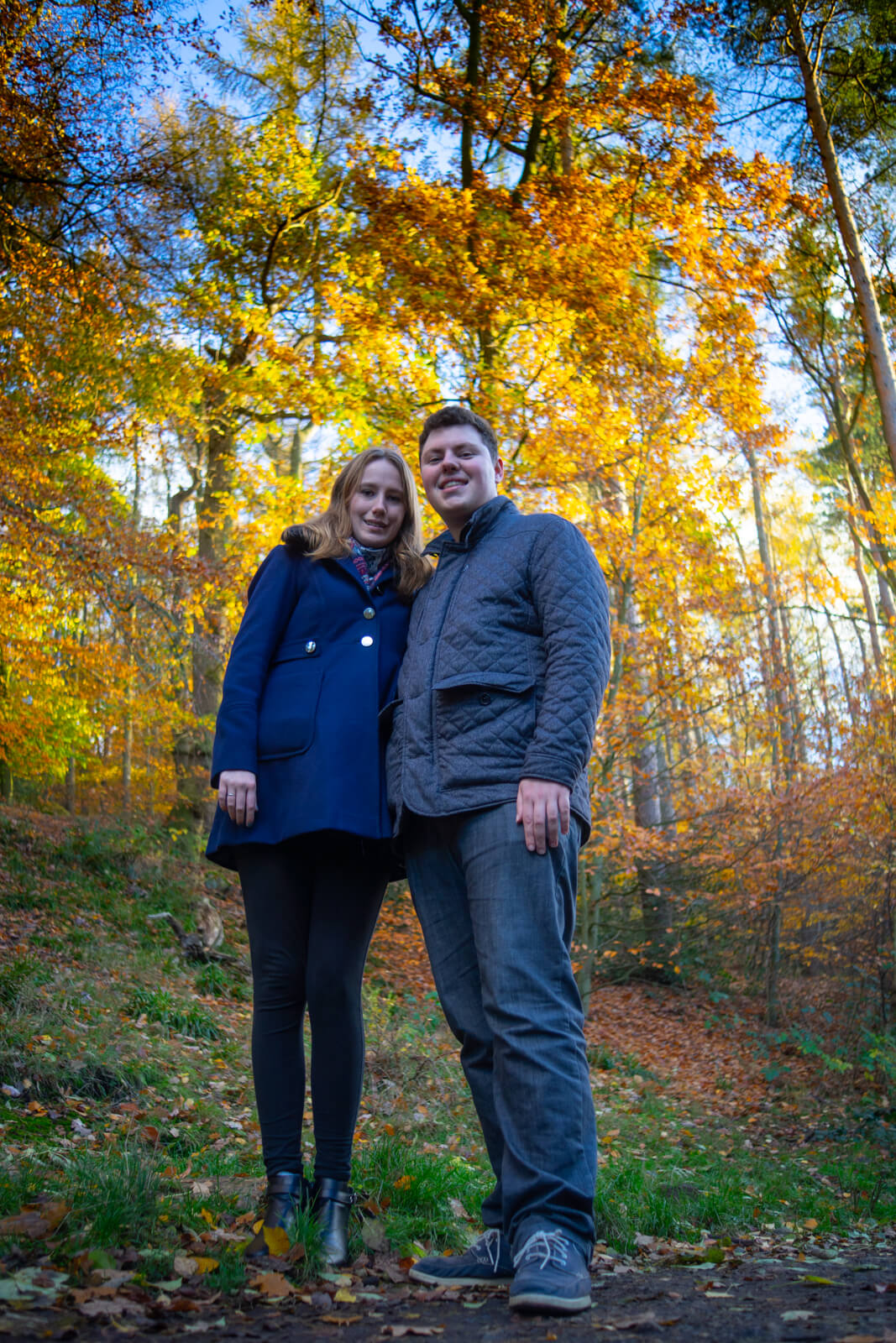Engaged couple standing amongst vibrant autumn coloured trees looking down at the camera