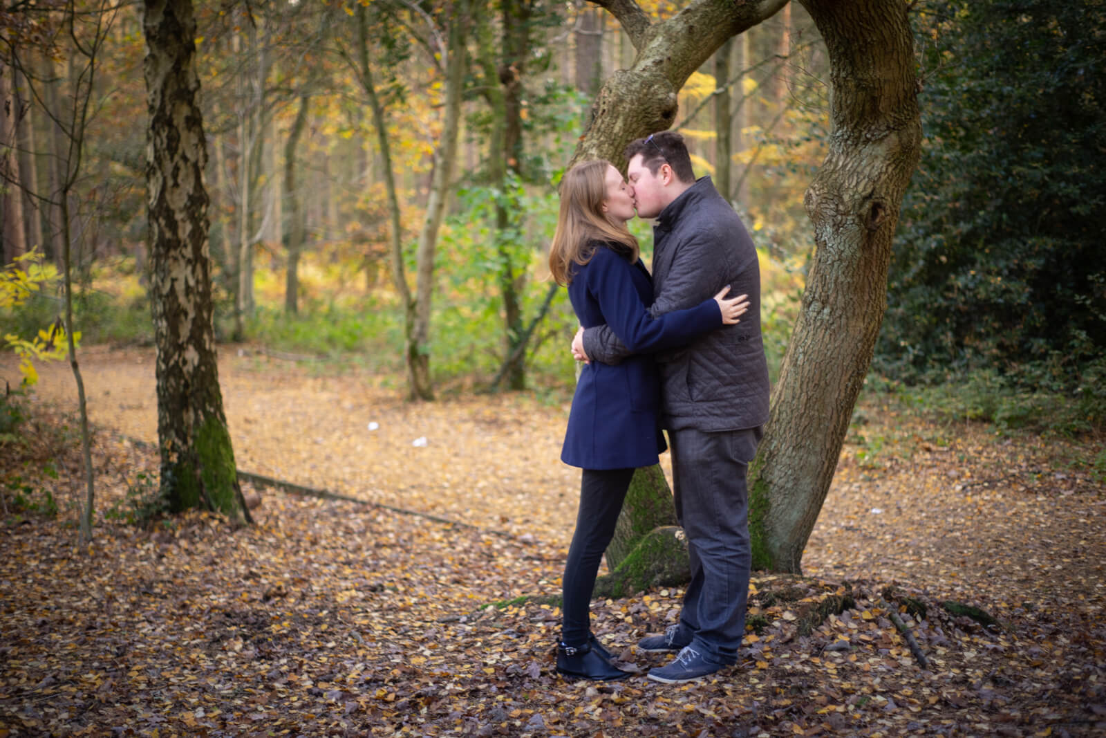 Young engaged couple kissing in a woodland