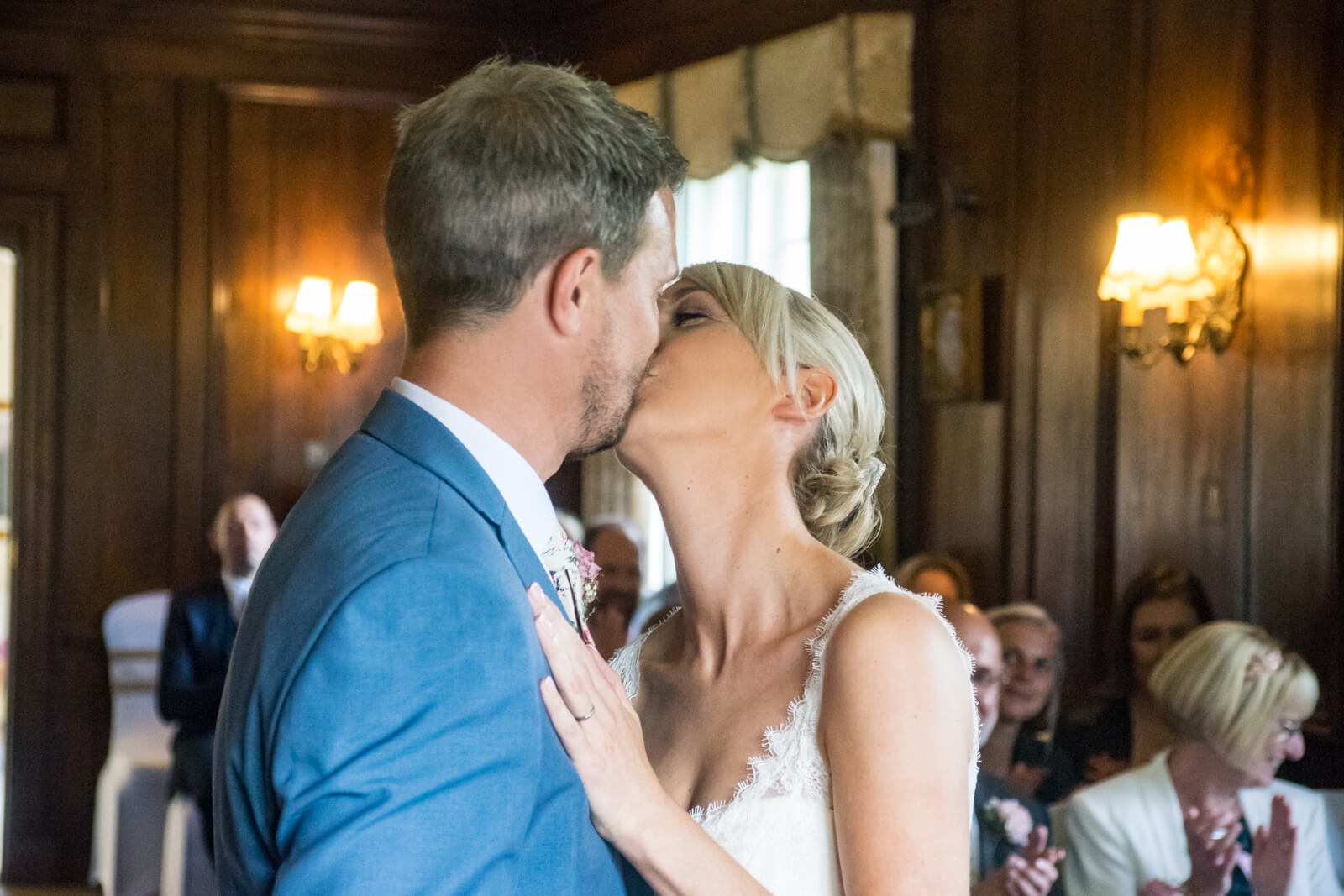 Bride and groom's first kiss as a married couple