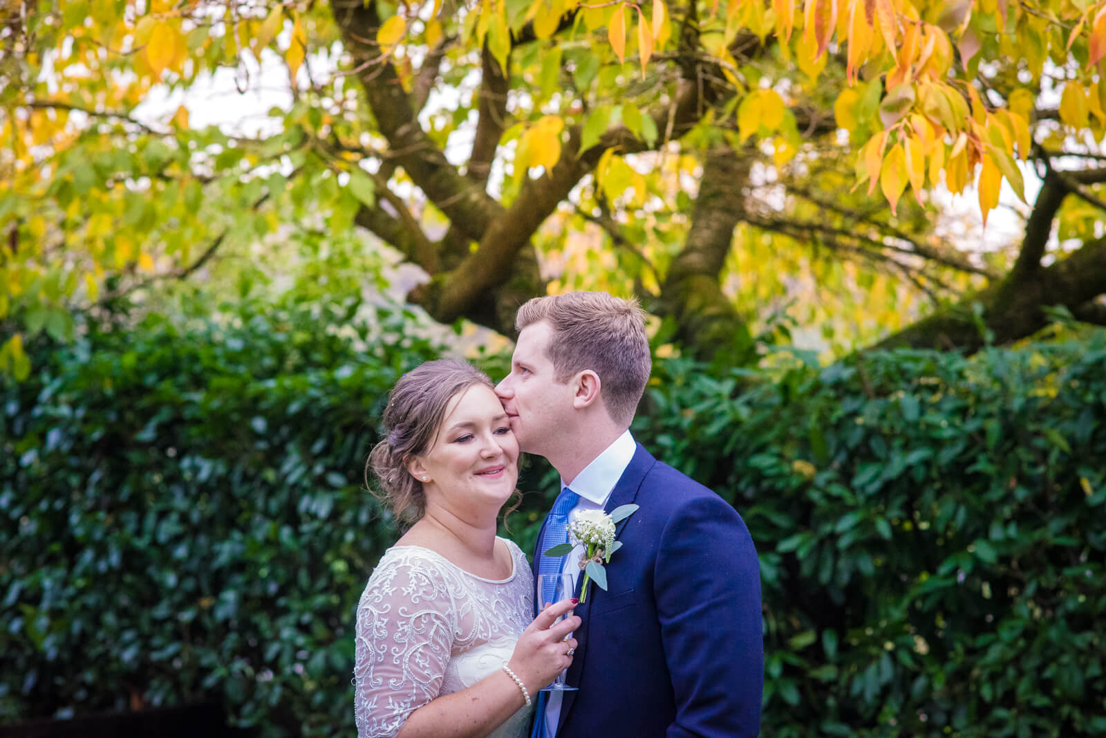 Groom kissing bride on the head infront of a green hedge and a tree with yellow leaves
