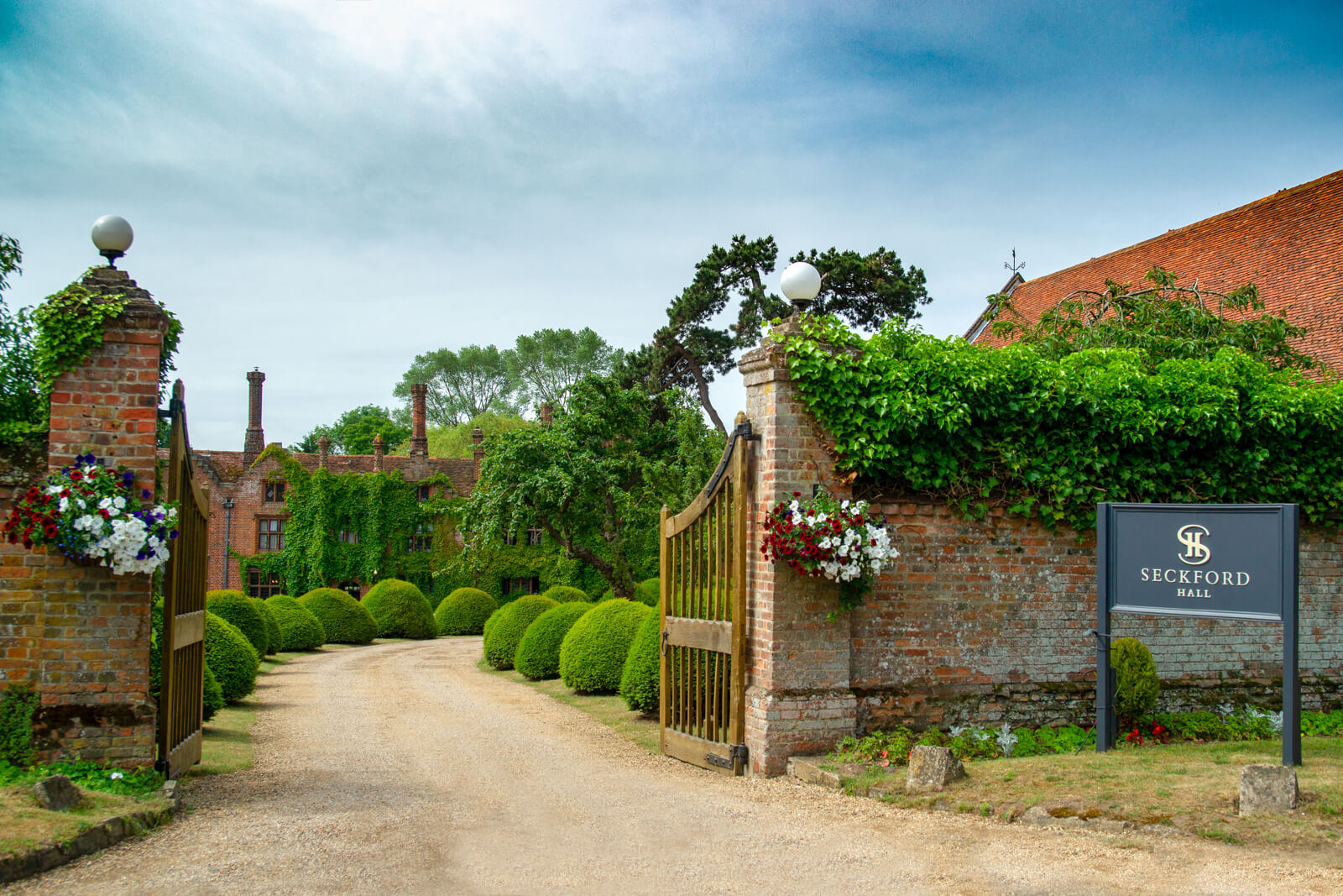 Entrance to Seckford Hall wedding venue Suffolk