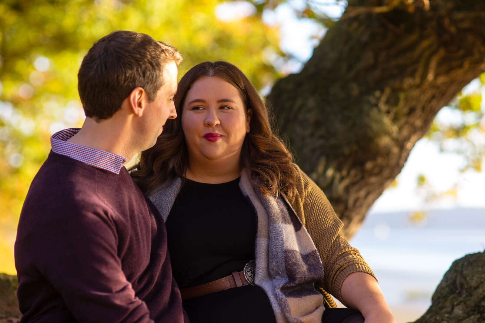 Engagement photo of a young couple sitting on a tre looking at one another