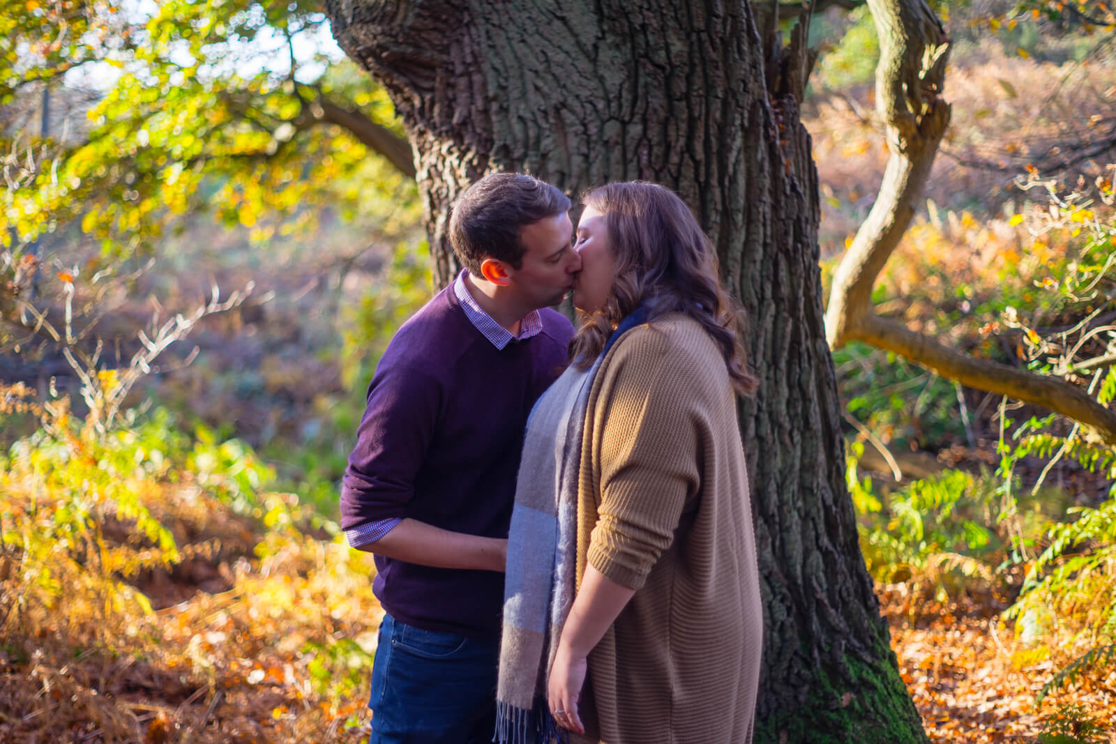 Engaged couple kissing against a wide tree trunk with golden background